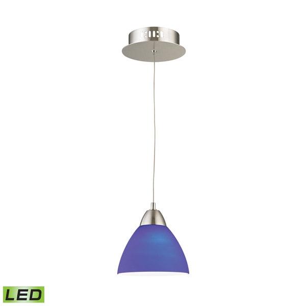 Alico Piatto 1 Light LED Pendant In Satin Nickel With Blue Glass