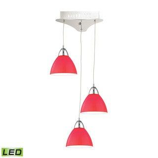 Alico Piatto 3 Light LED Pendant In Chrome With Red Glass