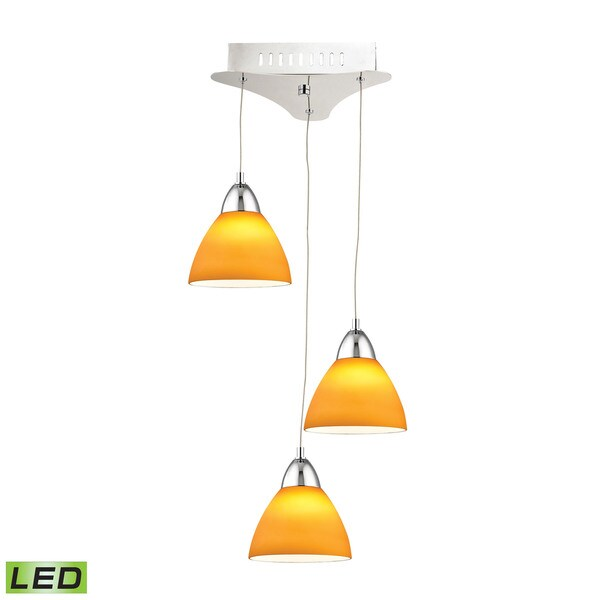 Alico Piatto 3 Light LED Pendant In Chrome With Yellow Glass