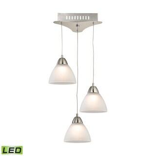 Alico Piatto 3 Light LED Pendant In Satin Nickel With White Glass