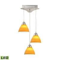 Alico Piatto 3 Light LED Pendant In Satin Nickel With Yellow Glass