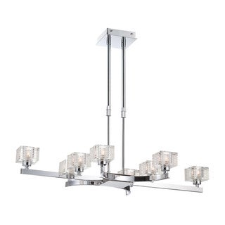Alico Quatra 8 Light Pendant In Chrome And Clear Glass