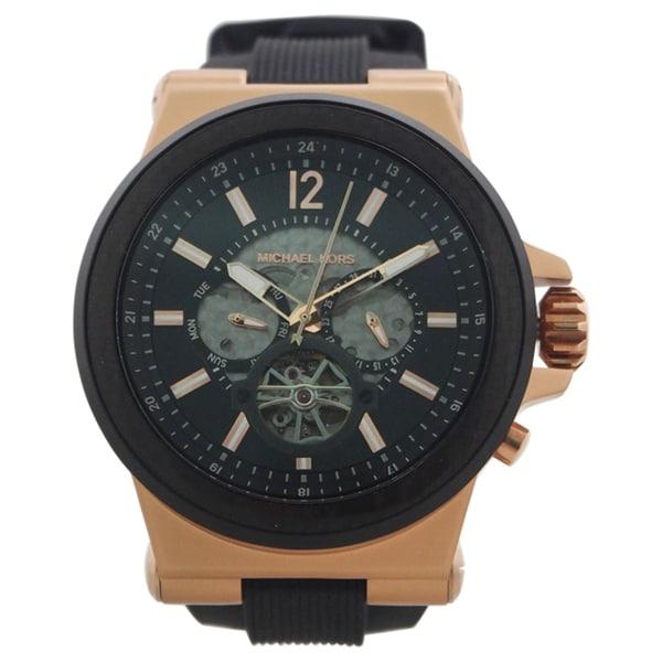 9f9ec9e945b7 Michael Kors Men  x27 s MK9019 Dylan Automatic Black Dial Black Silicone  Watch