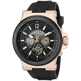 Michael Kors Men's MK9019 Dylan Automatic Black Dial Black Silicone Watch