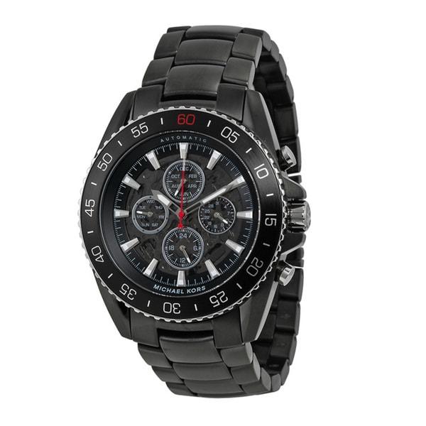 fcfea4776e6c Michael Kors Men  x27 s MK8455 JetMaster Chronograph Black Dial Black  Carbon Fiber Bracelet