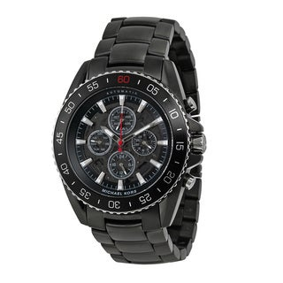 Michael Kors Men's MK8455 JetMaster Chronograph Black Dial Black Carbon Fiber Bracelet Watch