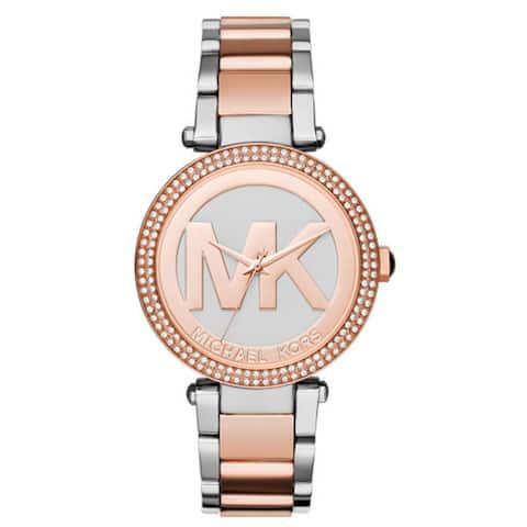 d951c56bd225 Michael Kors Women s MK6314 Parker Crystal Bezel Silver Logo Dial Two-Tone  Stainless Steel Bracelet