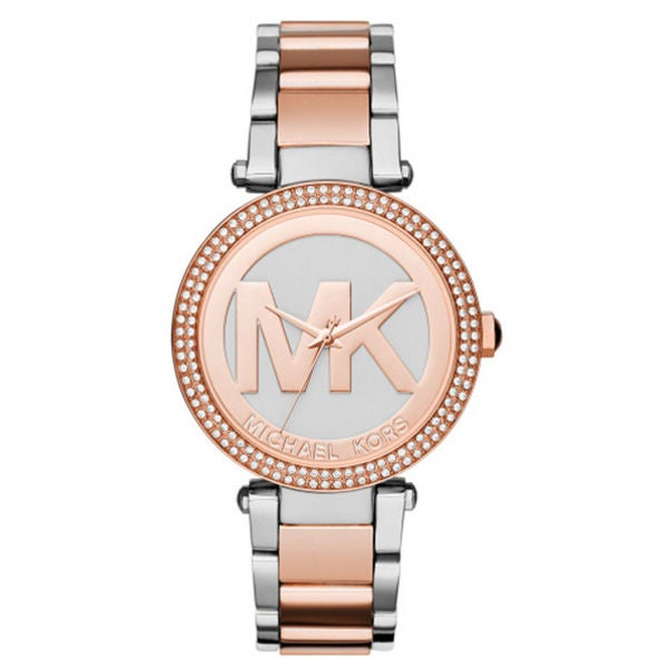 21f6bc5780ad Shop Michael Kors Women s MK6314 Parker Crystal Bezel Silver Logo Dial  Two-Tone Stainless Steel Bracelet Watch - Free Shipping Today - Overstock -  11043882