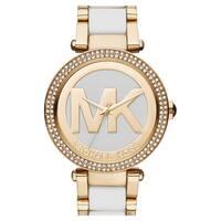 Michael Kors Women's MK6313 Parker Crystal Bezel White Logo Dial Two-Tone Bracelet Watch
