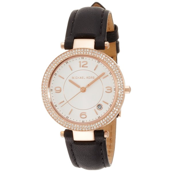 8317bcb2cfcd Michael Kors Women  x27 s MK2462 Mini Parker Crystal Accented White Dial  Black Leather