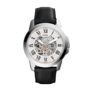 Fossil Men's ME3101 Grant Automatic Skeleton Dial Black Leather Watch
