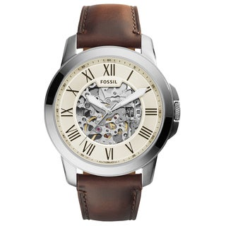 Fossil Men's ME3099 Grant Automatic Skeleton Dial Brown Leather Watch