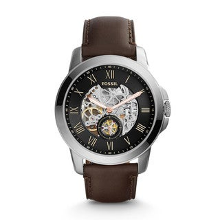 Fossil Men's ME3095 Grant Automatic Skeleton Dial Brown Leather Watch