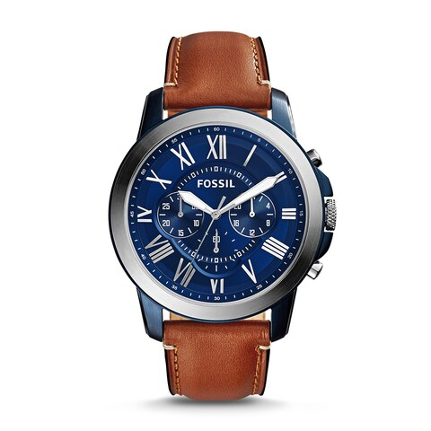 Fossil Men's Grant Chronograph Blue Dial Brown Leather Watch