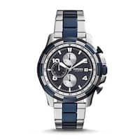 Fossil Men's  Dean Chronograph Blue Dial Two-Tone Stainless Steel Bracelet Watch