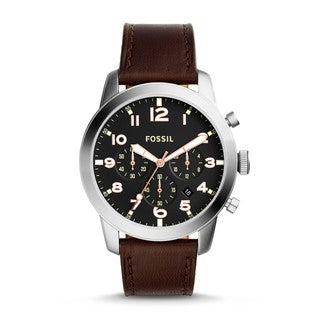 Fossil Men's FS5143 Pilot 54 Chronograph Black Dial Brown Leather Watch
