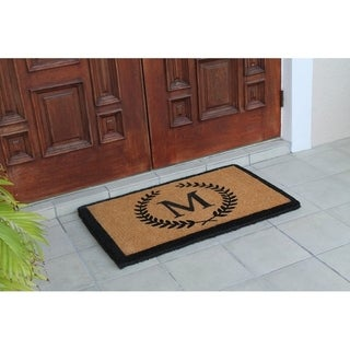 First Impression Hand-crafted Divina Handwoven Extra Thick Large 24 x 39-inch Monogrammed Leaf Doormat - 24 x 39