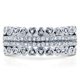 Annello by Kobelli 10k White Gold 1/3ct TDW Round Diamond Hearts Band (H-I, I1-I2)