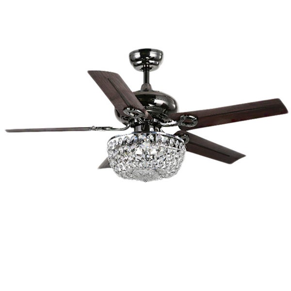 Angel 3-light Crystal Chandelier 5-blade 43-inch Brown Ceiling Fan ...