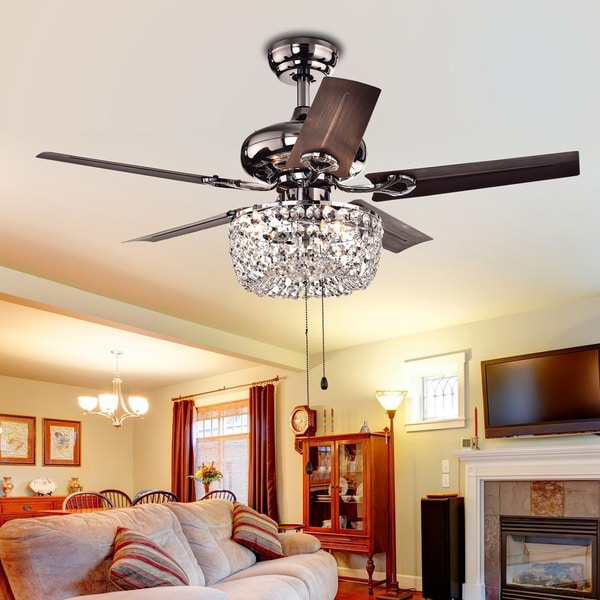 Ceiling Fan With Chandelier Light: Angel 3-light Crystal Chandelier 5-blade 43-inch Brown