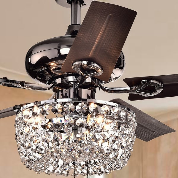 Ceiling Fan With Chandelier Light: Shop Angel 3-light Crystal Chandelier 5-blade 43-inch