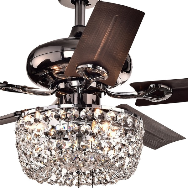 Black Chandelier Fan: Angel 3-light Crystal Chandelier 5-blade 43-inch Brown