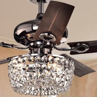 Angel 3-light Crystal 5-blade 43-inch Bronze Chandelier Ceiling Fan