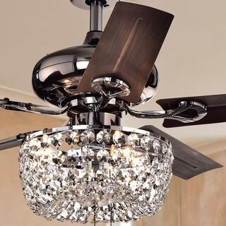 Angel 3-light Crystal Chandelier 5-blade 43-inch Brown Ceiling Fan (Optional Remote)