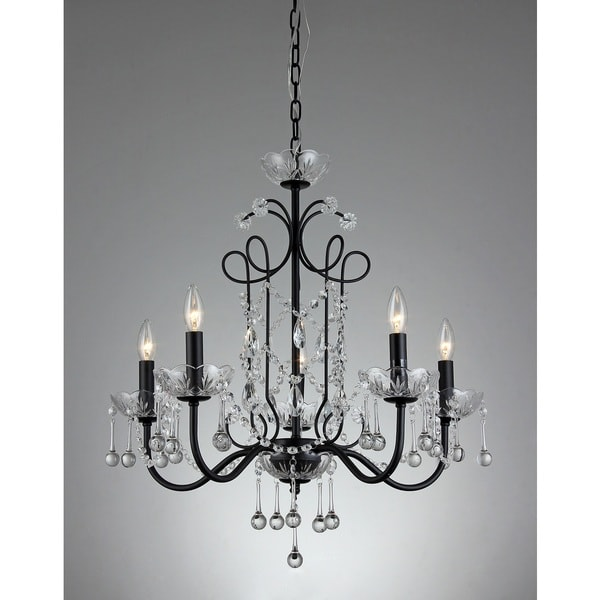 Shop Donna 5-light Crystal 22-inch Black Finish Chandelier