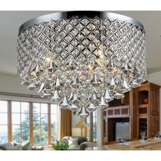 Warehouse of Tiffany Trey 3-light Chrome Iron and Crystal 16-inch Flush Mount