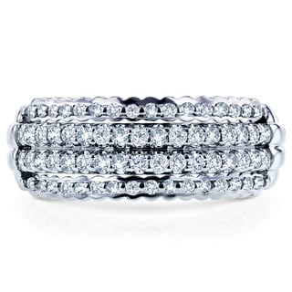 Annello by Kobelli 10k White Gold 1/2ct TDW Round Diamond Band (H-I, I1-I2)