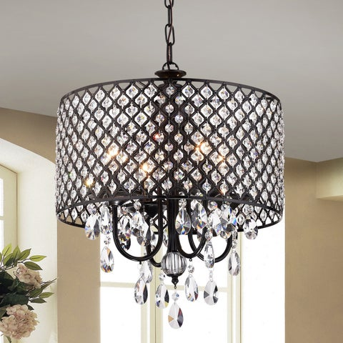 Monet 4-lights Black-finished 17-inch Crystal Round Chandelier