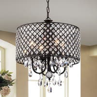 Monet 4-lights Black-finished 17-inch Crystal Round Chandelier
