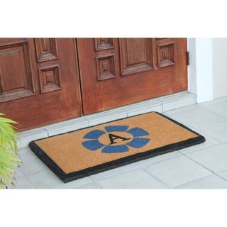 "First Impression Handwoven Floella Monogrammed Entry Doormat, Large Double Door Size; 24""X39"""