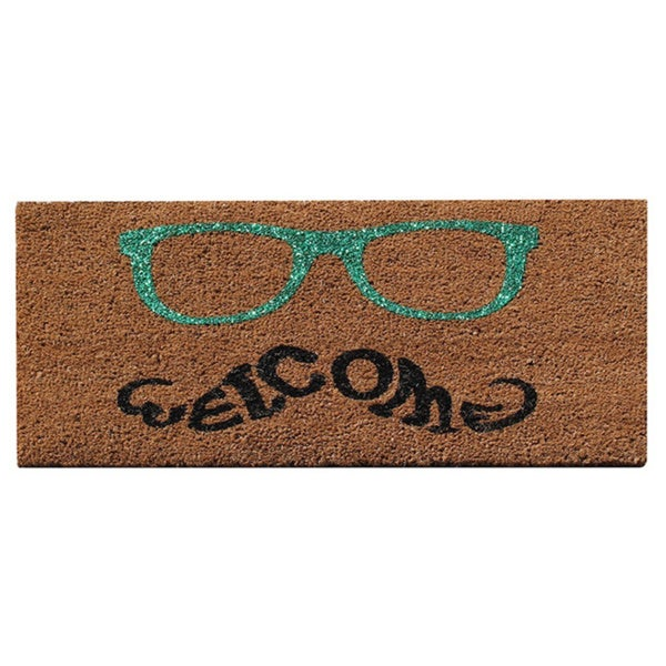 A1HC -First Impression Green Glitter Glasses Welcome Doormat (1'6 x 2'6)