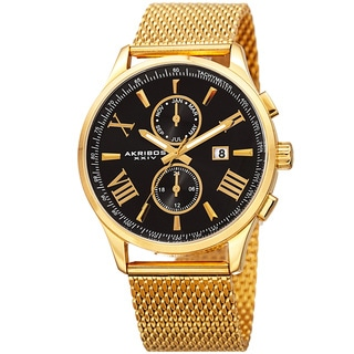 Akribos XXIV Men's Swiss Quartz Multifunction Stainless Steel Mesh Gold-Tone Bracelet Watch