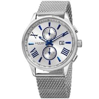 Akribos XXIV Men's Swiss Quartz Multifunction Stainless Steel Mesh Silver-Tone Bracelet Watch - silver