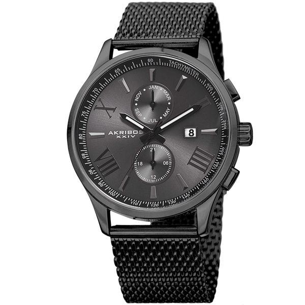 Akribos XXIV Men's Swiss Quartz Multifunction Stainless Steel Mesh Black Bracelet Watch