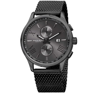 Akribos XXIV Men's Swiss Quartz Multifunction Stainless Steel Mesh Black Bracelet Watch with FREE GIFT