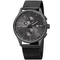Akribos XXIV Men's Swiss Quartz Multifunction Stainless Steel Mesh Black Bracelet Watch