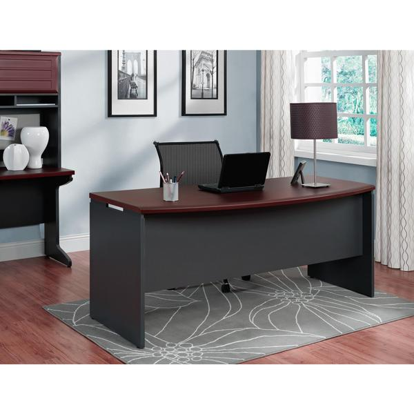 ameriwood home pursuit cherry grey executive desk free shipping