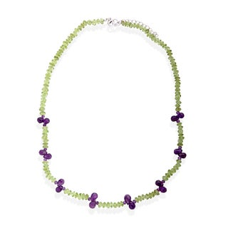 """Sterling Silver 18"""" 21.60ctw Peridot & Amethyst Bead Necklace"""