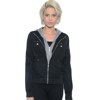 Women's Layered Zip Up Two-Tone Hooded Cotton Jacket