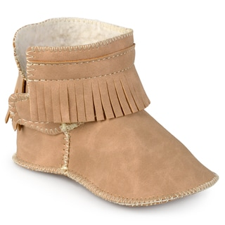 Journee Kid's 'Olivia' Fringed Faux Leather Moccassin Booties