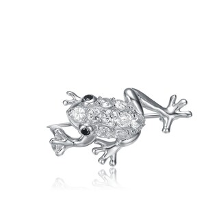 Collette Z Sterling Silver Cubic Zirconia Frog Pin