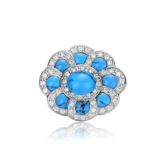 Collette Z Sterling Silver Blue And White Cubic Zirconia Small Flower Pin