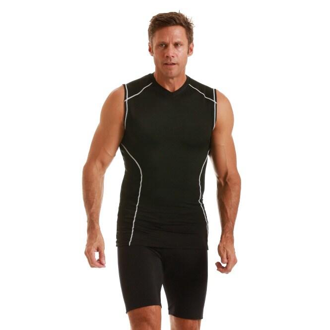 Insta Slim Men's Compression Sleeveless V-Neck Shirt (M),...