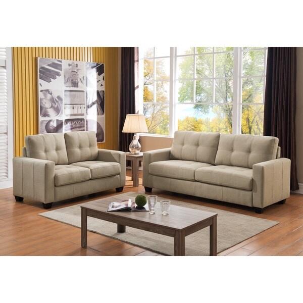 Caris Contemporary 2 Piece Fabric Sofa And Loveseat Set