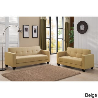 Carly Contemporary 2-piece Fabric Sofa and Loveseat Set