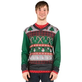 Faux Real Men's Ugly Sweater w/ Candy Canes Sweater T-Shirt